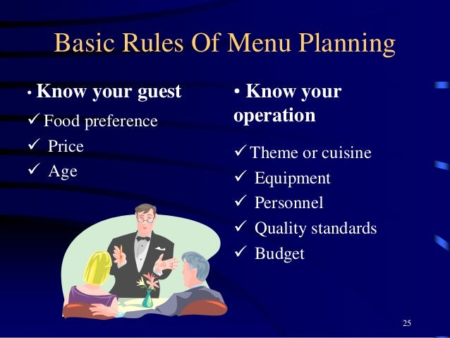 Basic Rules Of Menu Planning • Know your guest  Food preference  Price  Age • Know your operation  Theme or cuisine  ...