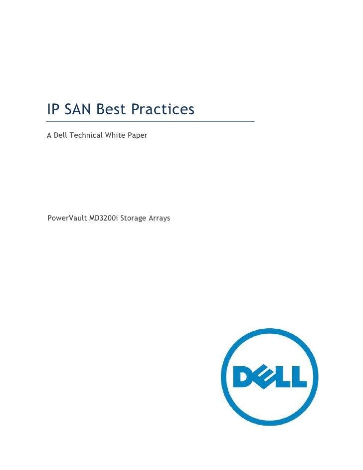 IP SAN Best PracticesA Dell Technical White PaperPowerVault MD3200i Storage Arrays