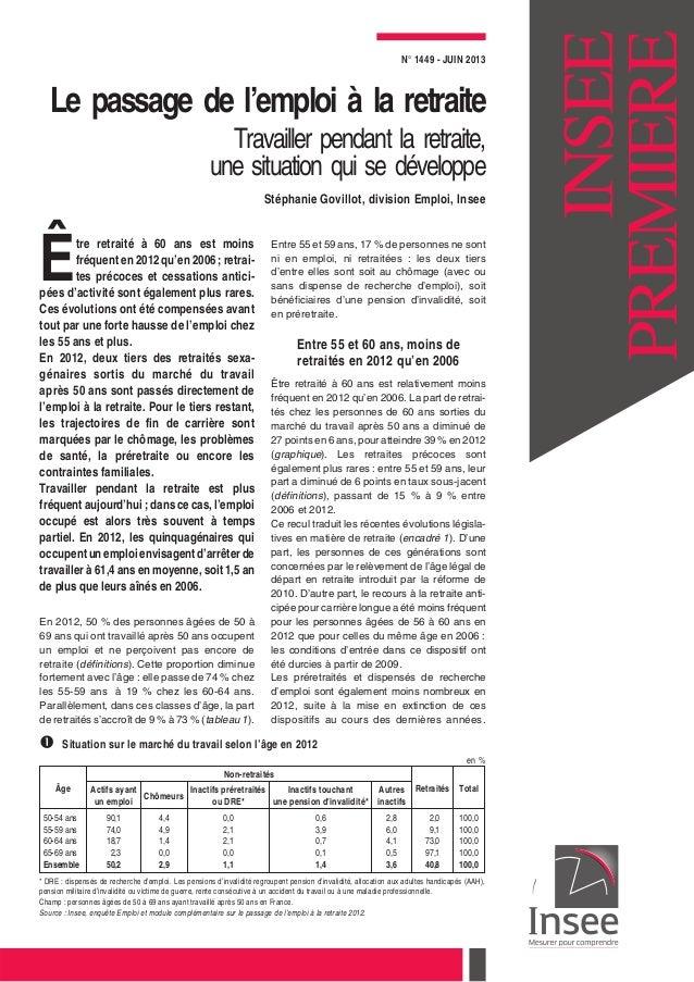 N° 1449 - JUIN 2013 Le passage de l'emploi à la retraite Travailler pendant la retraite, une situation qui se développe St...