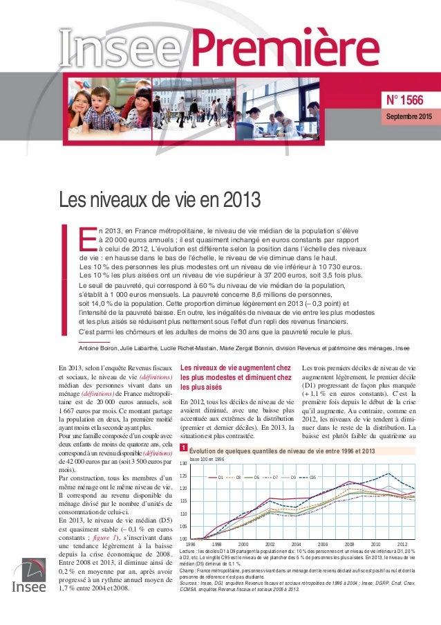 Les niveaux de vie en 2013 E n 2013, en France métropolitaine, le niveau de vie médian de la population s'élève à 20 000 e...