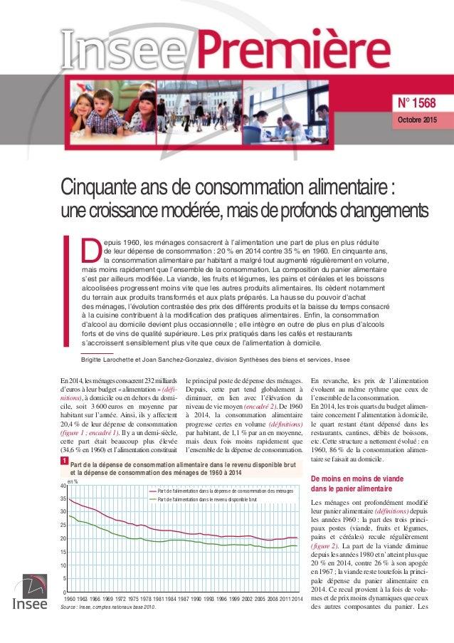 Cinquante ans de consommation alimentaire: unecroissancemodérée,maisdeprofondschangements D epuis 1960, les ménages consac...