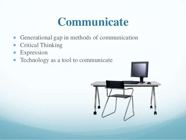 Communicate Generational gap in methods of communication Critical Thinking Expression Technology as a tool to communicate