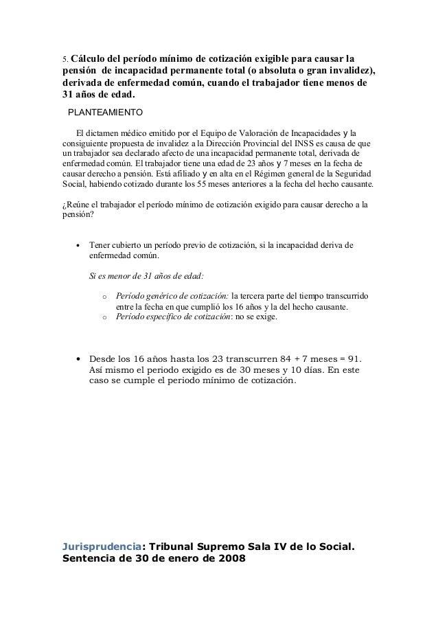 5. Cálculo del período mínimo de cotización exigible para causar la pensión de incapacidad permanente total (o absoluta o ...