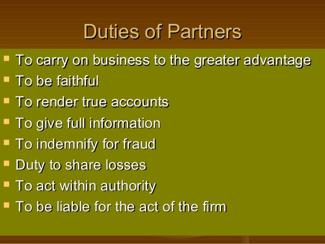 rights and duties of partners with examples