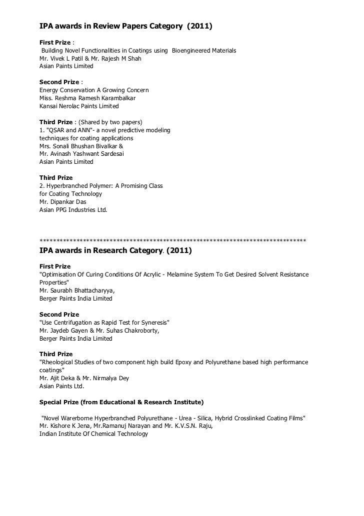 IPA awards in Review Papers Category (2011)First Prize : Building Novel Functionalities in Coatings using Bioengineered Ma...