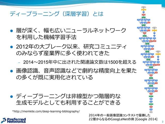 会社紹介:Preferred Networks (PFN) l IoT時代に合わせた分散知能を備えた新しいコンピュータを創造する l 2014年年3⽉月創業 l 東京オフィス, シリコンバレーオフィス l 従業員:約60⼈人 殆どが研...