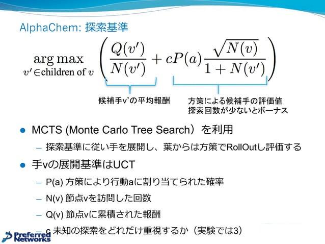 AlphaChem: Retrosynthesisと強化学習 l 再合成できるパスを探す問題を強化学習で解く ̶— 各⾏行行動は実験の1ステップ u 可能な⾏行行動を探すこと⾃自体、部分グラフの相同問題でNP完全 u 平均の分岐数は200...