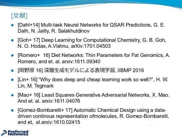 [⽂文献] l [Dahl+14] Multi-task Neural Networks for QSAR Predictions, G. E.  Dalh, N. Jaitly, R. Salakhutdinov...