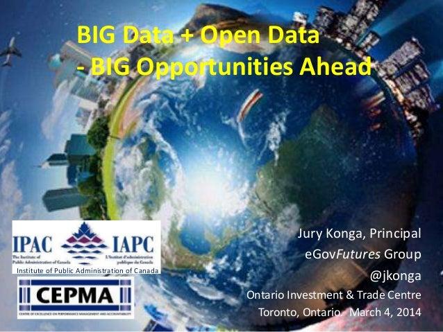 BIG Data + Open Data - BIG Opportunities Ahead  Institute of Public Administration of Canada  Jury Konga, Principal eGovFu...