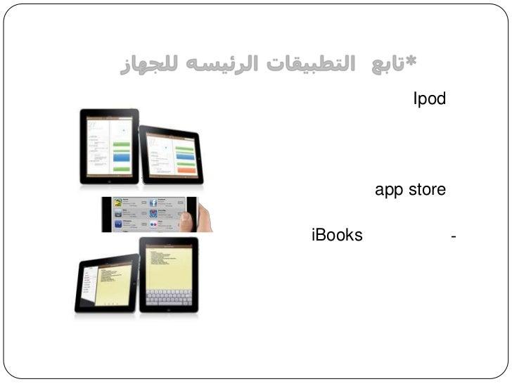 *تابع: التطبيقاتالرئيسهللجهاز<br />Ipod6) <br />7) آيتونز<br />app store8) <br />iBooks9-(مكتبة الكتب )<br />10) الخرائط<b...
