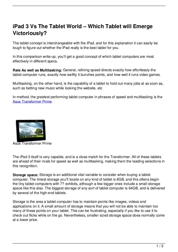 iPad 3 Vs The Tablet World – Which Tablet will EmergeVictoriously?The tablet concept is interchangeable with the iPad, and...