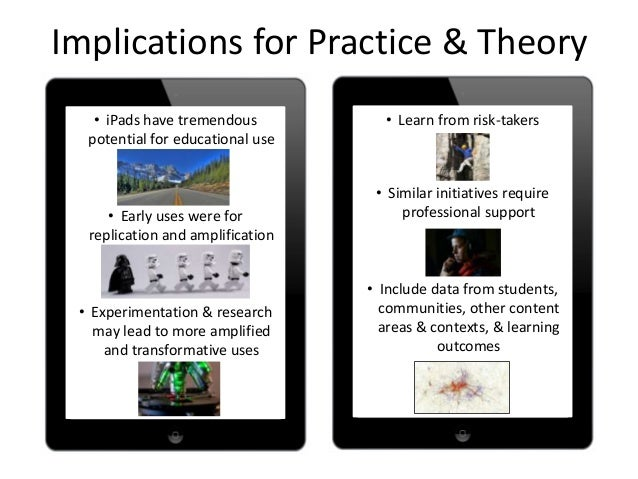 Implications for Practice & Theory• iPads have tremendouspotential for educational use• Early uses were forreplication and...