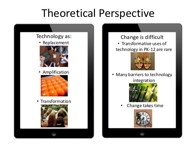 Theoretical PerspectiveTechnology as:• Replacement• Amplification• TransformationChange is difficult• Transformative uses ...