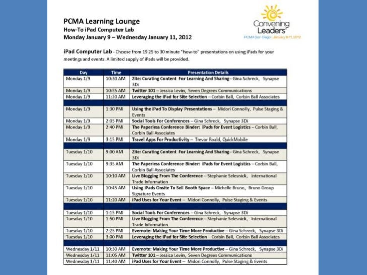 I pad and BYOD Learning Lab Schedule at a Glance