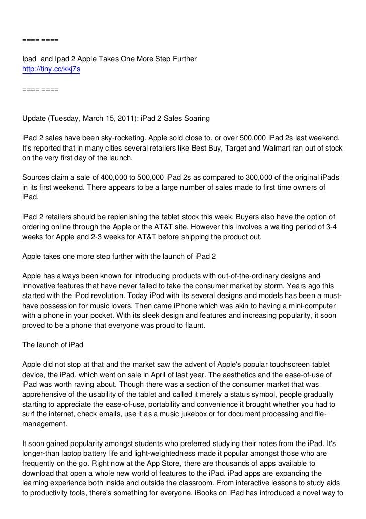==== ====Ipad and Ipad 2 Apple Takes One More Step Furtherhttp://tiny.cc/kkj7s==== ====Update (Tuesday, March 15, 2011): i...