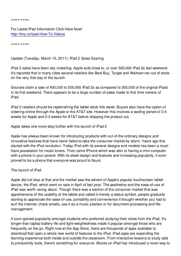==== ====For Latest iPad Information Click Here Now!http://tiny.cc/Ipad-How-To-Videos==== ====Update (Tuesday, March 15, 2...