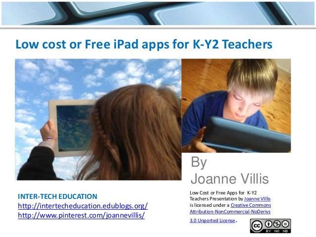 INTER-TECH EDUCATION http://intertecheducation.edublogs.org/ http://www.pinterest.com/joannevillis/ Low cost or Free iPad ...