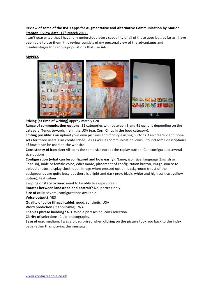 Review of some of the IPAD apps for Augmentative and Alternative Communication by MarionStanton. Rview date: 12th March 20...