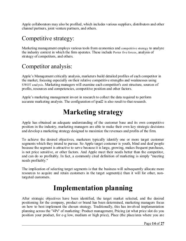 personal marketing plan essay example