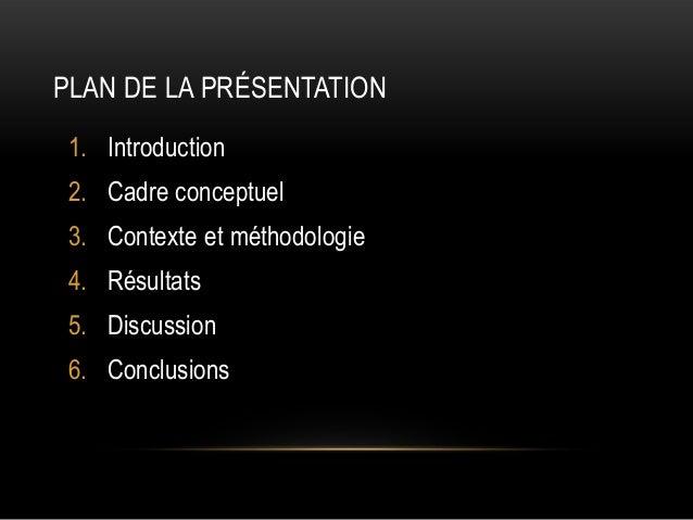 PLAN DE LA PRÉSENTATION 1. Introduction 2. Cadre conceptuel  3. Contexte et méthodologie 4. Résultats 5. Discussion 6. Con...