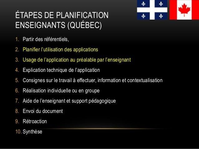 ÉTAPES DE PLANIFICATION ENSEIGNANTS (QUÉBEC) 1. Partir des référentiels, 2. Planifier l'utilisation des applications 3. Us...