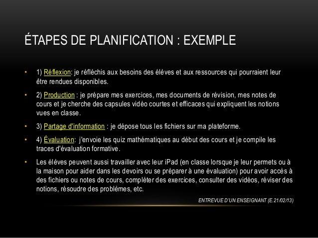 ÉTAPES DE PLANIFICATION : EXEMPLE •  1) Réflexion: je réfléchis aux besoins des élèves et aux ressources qui pourraient le...