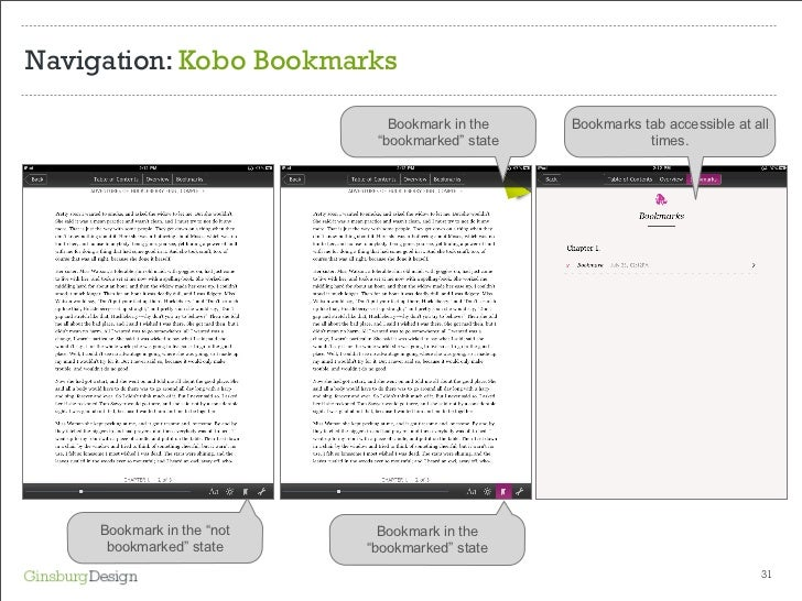 Navigation: Kobo Bookmarks Bookmark in