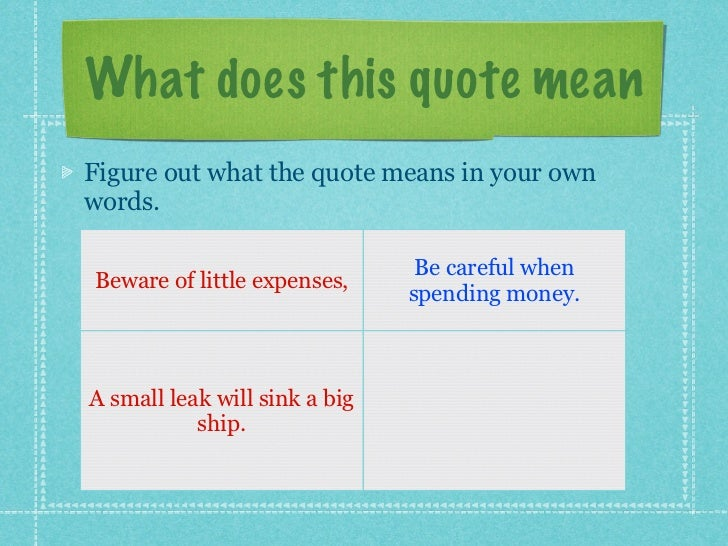 Analyzing Quotes Classy What Does This Quote Mean