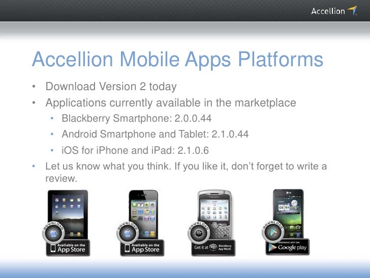 Accellion Mobile Apps Platforms• Download Version 2 today• Applications currently available in the marketplace    • Blackb...