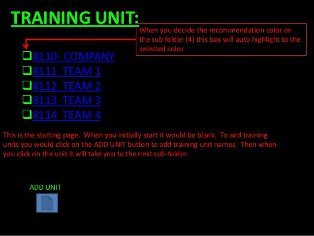 TRAINING UNIT:When you decide the recommendation color on                                          the sub folder (4) this...