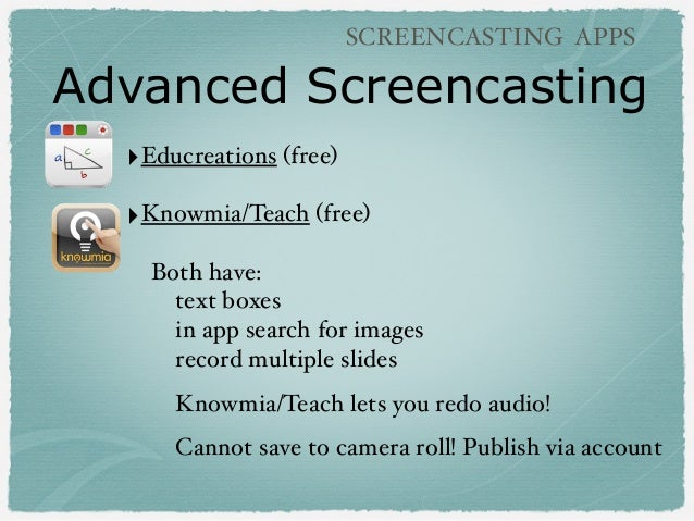 Advanced Screencasting SCREENCASTING APPS ‣Educreations (free) ‣Knowmia/Teach (free) Both have: text boxes in app search f...