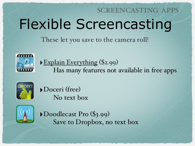Flexible Screencasting SCREENCASTING APPS ‣Explain Everything ($2.99) Has many features not available in free apps ‣Doceri...