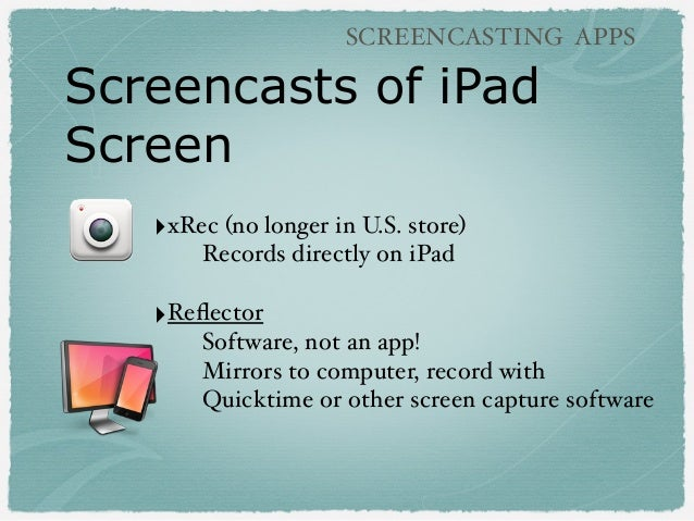 Screencasts of iPad Screen SCREENCASTING APPS ‣xRec (no longer in U.S. store) Records directly on iPad ‣Reflector Software,...