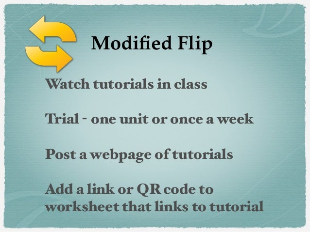 Watch tutorials in class Trial - one unit or once a week Post a webpage of tutorials Add a link or QR code to worksheet th...