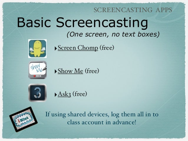 Basic Screencasting (One screen, no text boxes) SCREENCASTING APPS ‣Screen Chomp (free) ‣Show Me (free) ‣Ask3 (free) If us...
