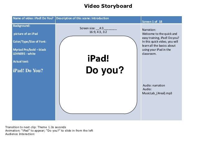 Video Storyboard     Name of video: iPad! Do You? Description of this scene: Introduction                                 ...