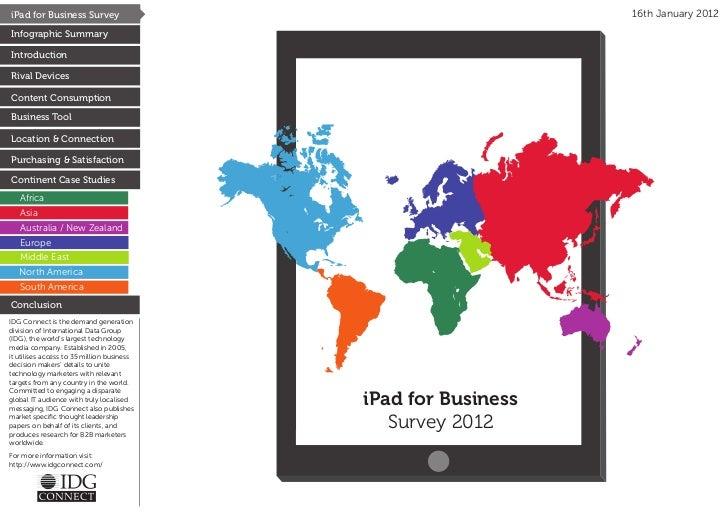 iPad for Business Survey                                        16th January 2012Infographic SummaryIntroductionRival Devi...