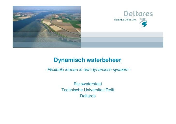 Dynamisch waterbeheer- Flexibele kranen in een dynamisch systeem -              Rijkswaterstaat        Technische Universi...