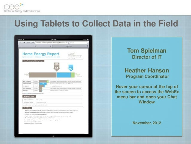 Using Tablets to Collect Data in the Field