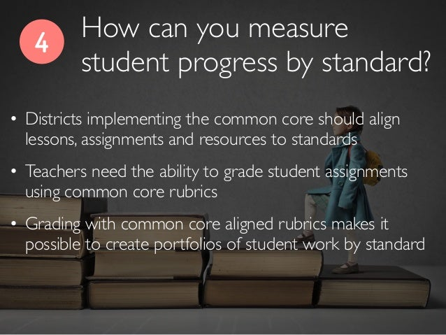 4 • Districts implementing the common core should align lessons, assignments and resources to standards • Teachers need th...