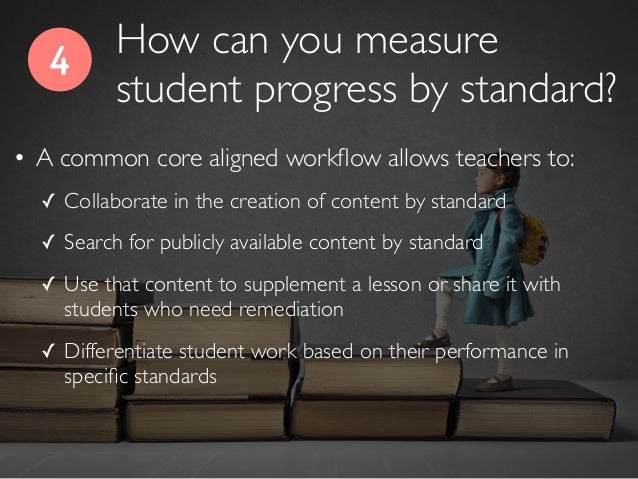 4 • A common core aligned workflow allows teachers to: ✓ Collaborate in the creation of content by standard ✓ Search for pu...