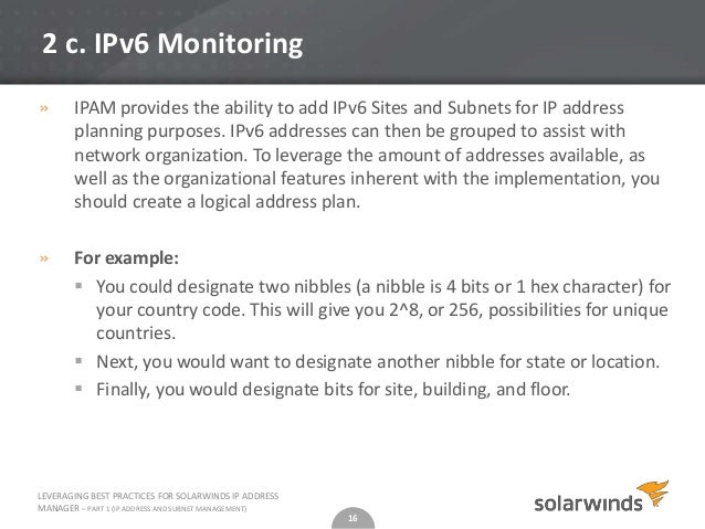 Leveraging Best Practices of SolarWinds IP Address Manager