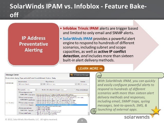 Top 5 Reasons To Consider SolarWinds IPAM Over Infoblox