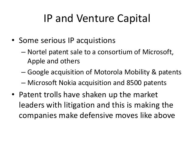 A VC's criteria for investing in IP • Technology Investment Fund criteria We invest in technologies that meet the followin...