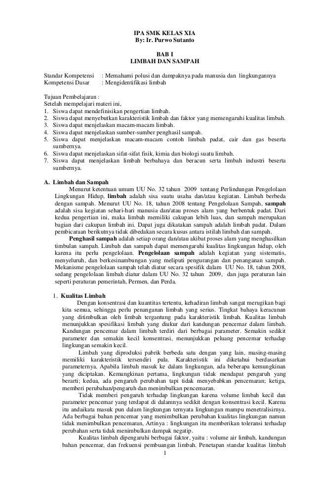 1 IPA SMK KELAS XIA By: Ir. Purwo Sutanto BAB I LIMBAH DAN SAMPAH Standar Kompetensi : Memahami polusi dan dampaknya pada ...