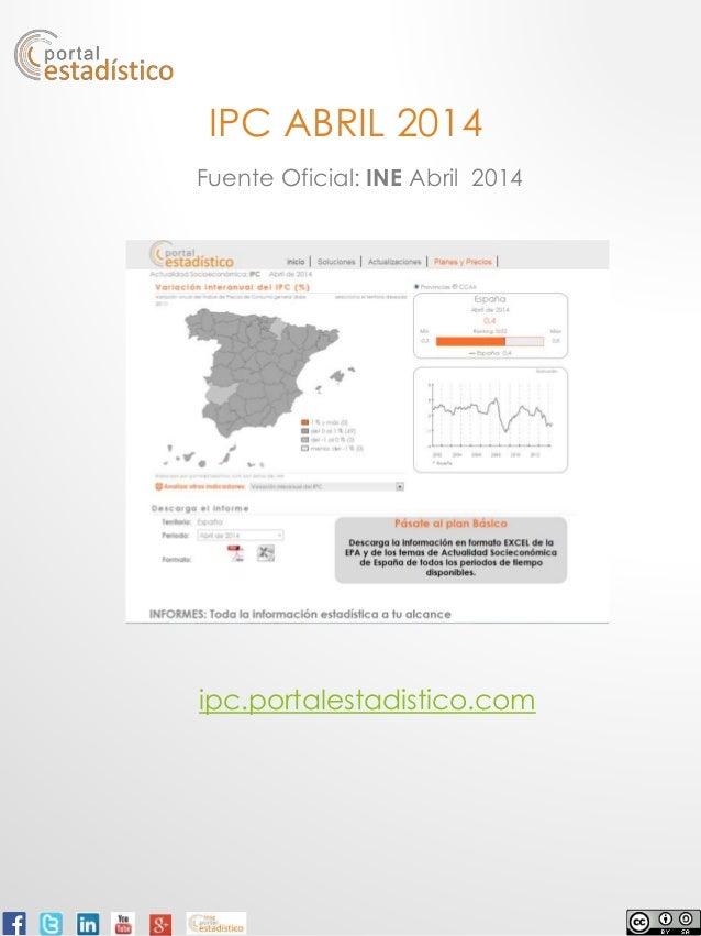 IPC ABRIL 2014 Fuente Oficial: INE Abril 2014 ipc.portalestadistico.com