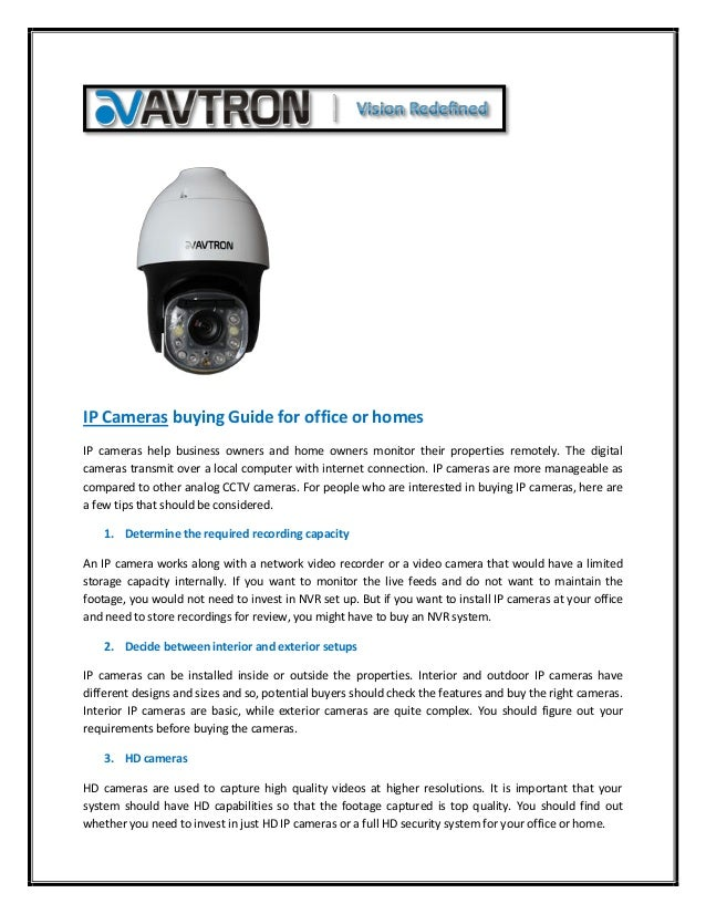 Ip cameras buying guide for office or homes
