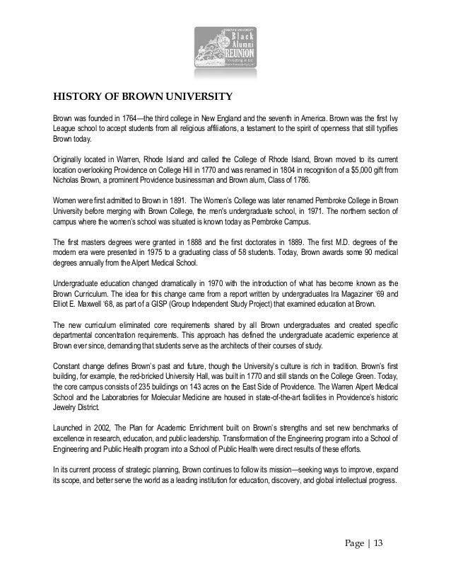 Brown Univ IPC - Black Alumni Reunion 2013 - Program Booklet