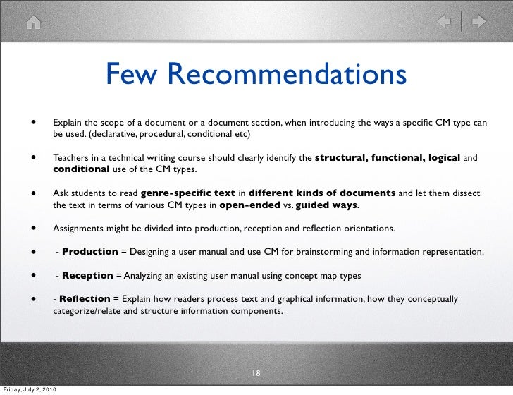 Few Recommendations           •       Explain the scope of a document or a document section, when introducing the ways a s...