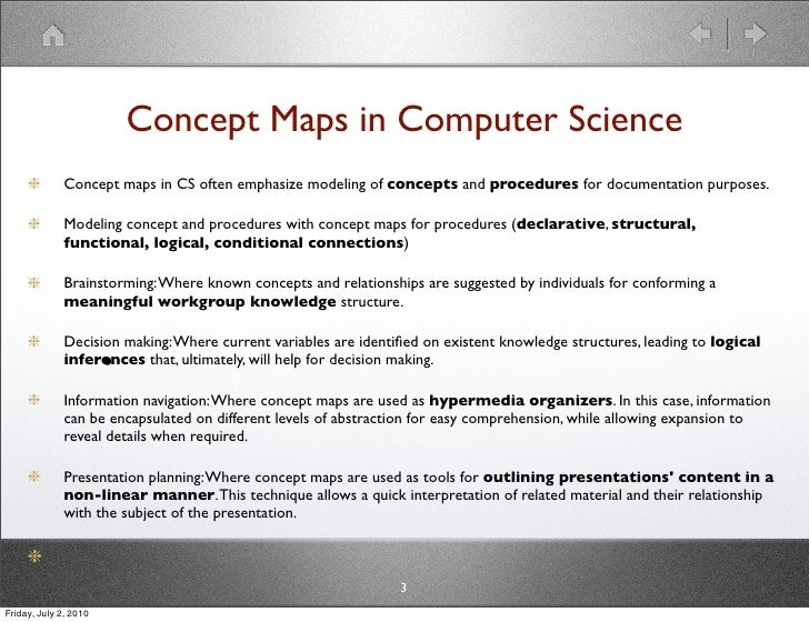 Concept Maps in Computer Science               Concept maps in CS often emphasize modeling of concepts and procedures for ...